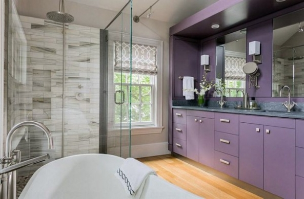 Bathroom design in purple tones and shades