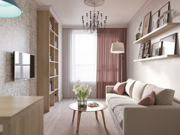 Apartment interior design in light colors