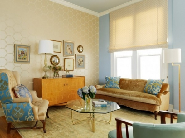 The Combination of Wallpaper in the Living Room Ideas