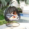 Luxury 2 Person Wicker Swing Chair with Stand
