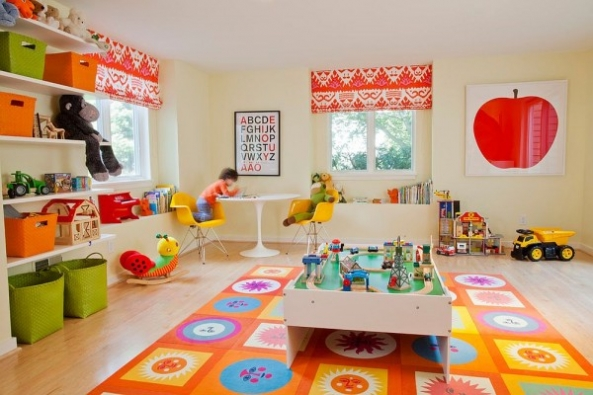 Bright Carpet in the Kids Room: 21 Original Decorating Ideas