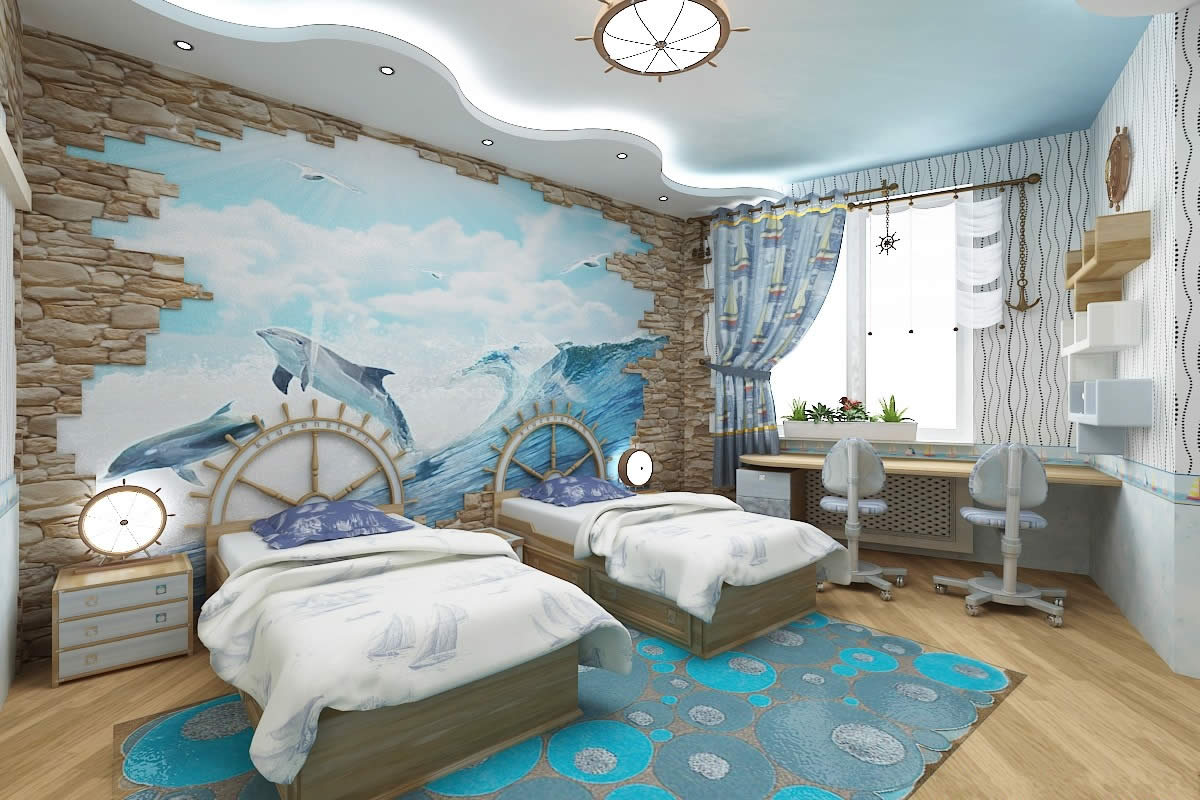 The element of water boys rooms interior kids room for Room interior design for boys
