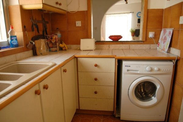 washing machine in a small kitchen