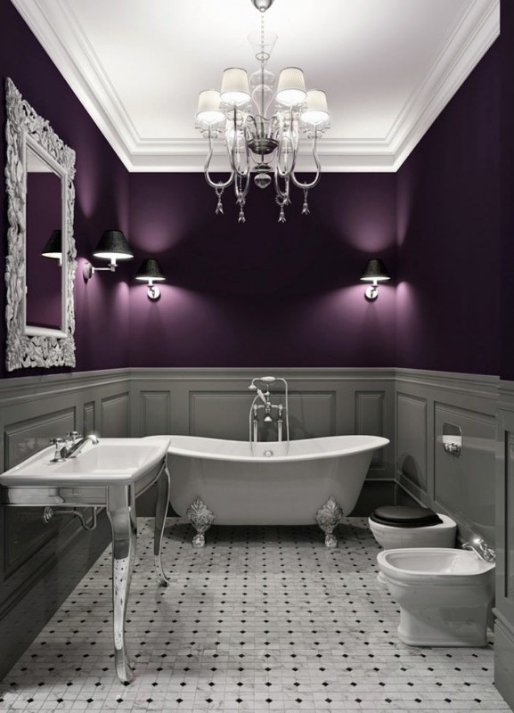 Bathroom design in purple tones and shades bathroom for Dark purple bathrooms