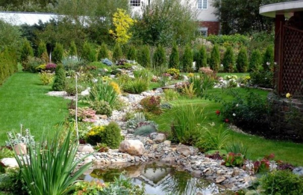 Very nice landscaping with a pond and a large number of species of ornamental plants