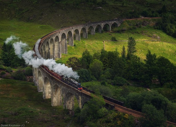 Glenfinnan Viaduct, Scotland. Railway track on arch bridge