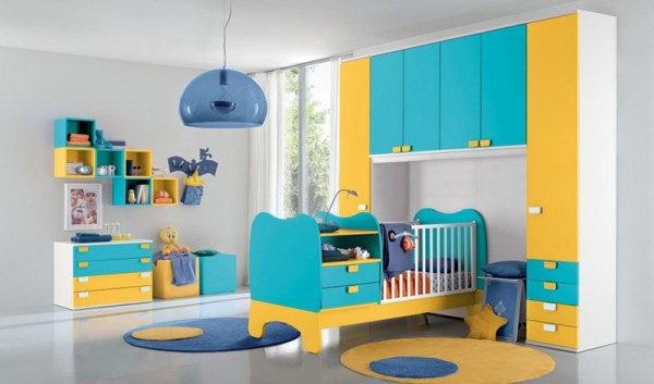Colorful kids room in yellow and blue tones