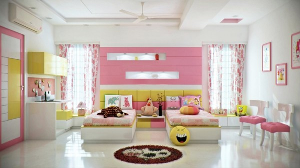 Colorful kids room for young ladies