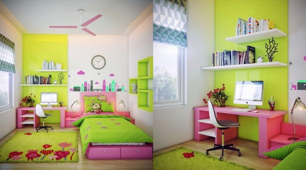 Beautiful room in a light green color for girls
