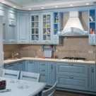 Kitchen interior into the blue