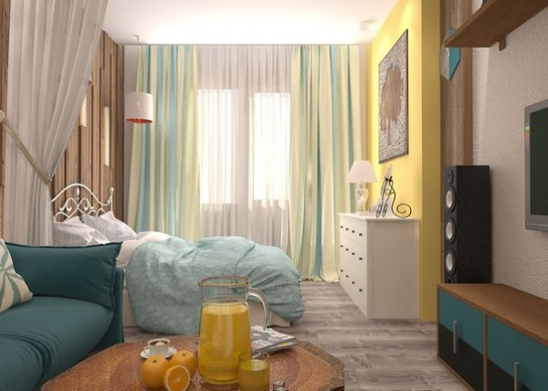Sunny Interior Design for Small Apartment Image 2