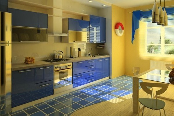 Small Kitchen Design in Yellow-Blue Shades