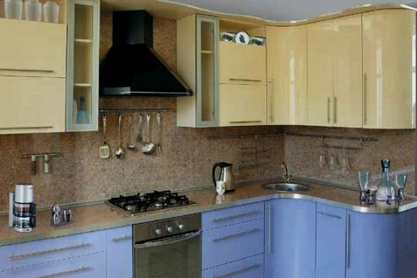 Small Kitchen Design in Yellow-Blue Shades 2