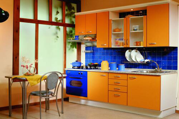 Small Kitchen Design in Yellow-Blue Shades 3