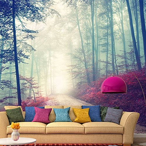 Magical Red Road Wall Mural Misty Forest Tree Photo Wallpaper
