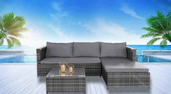 Rattan Pool Patio Garden Set with Cushions