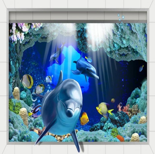 Washable Dolphin Pattern 3D Floor Sticker