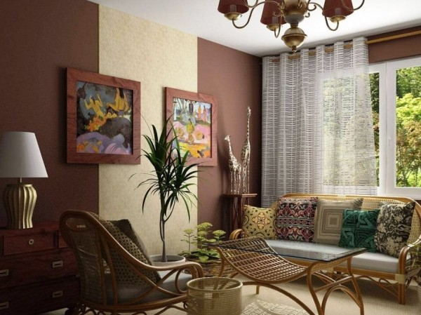 The Combination of Wallpaper in the Living Room Idea 2