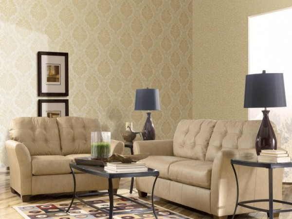 The Combination of Wallpaper in the Living Room Idea 6
