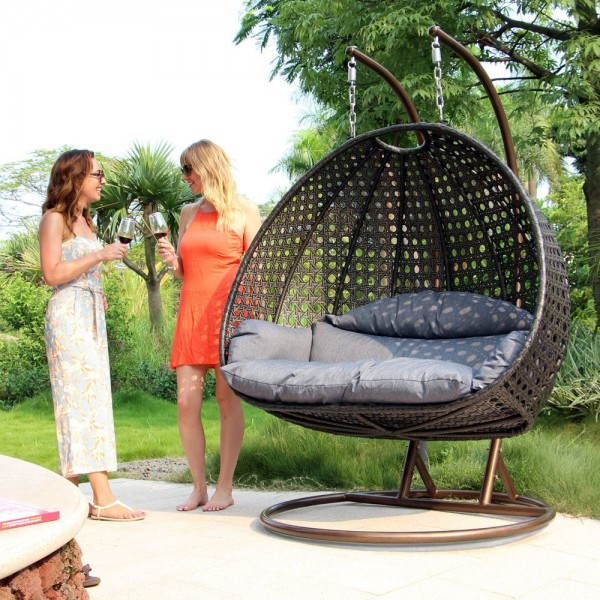 Luxury 2 Person Wicker Swing Chair with Stand 2