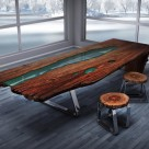 Wood Tables Embedded With Glass Rivers