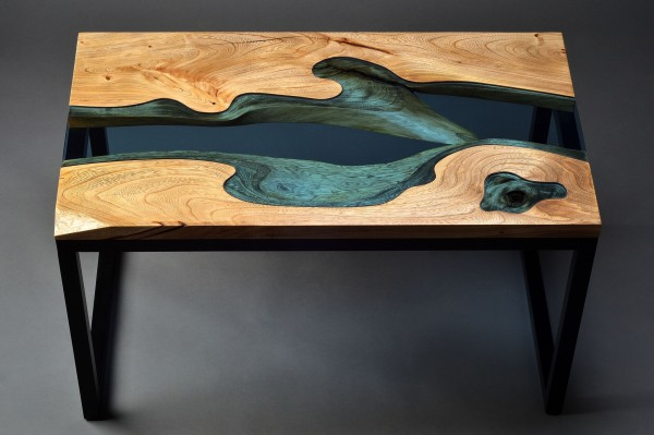 Wood Table Embedded With Glass River 2
