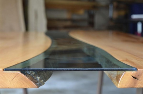 Wood Table Embedded With Glass River 3