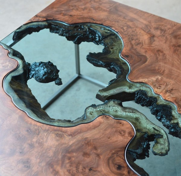 Wood Table Embedded With Glass River 5