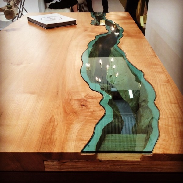 Wood Table Embedded With Glass River 6