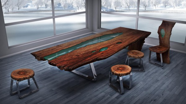 Wood Table Embedded With Glass River