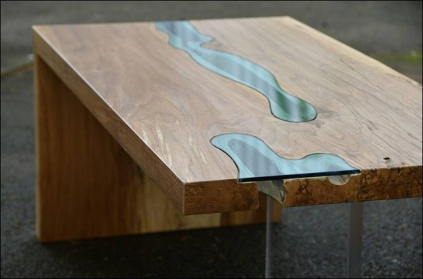 Wood Table Embedded With Glass River 7