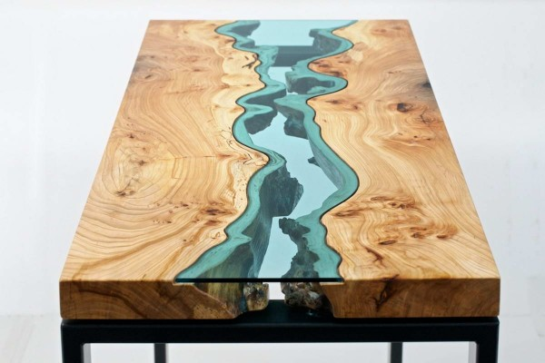 Wood Table Embedded With Glass River 8