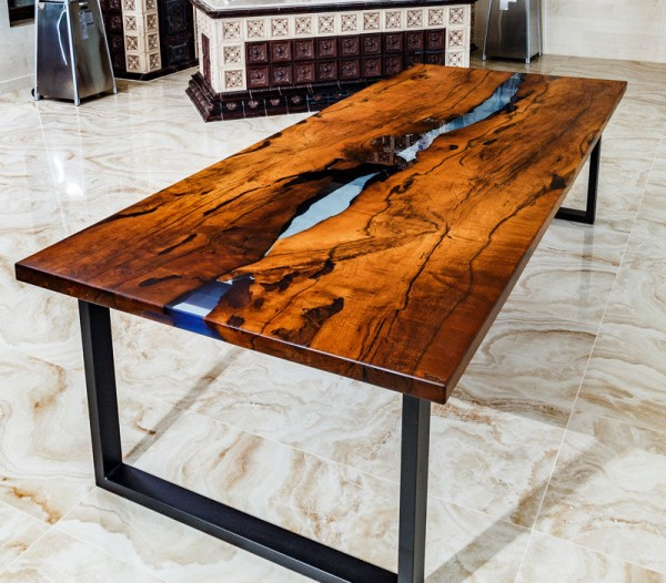 Wood Table Embedded With Glass River 9
